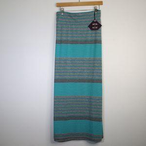 Ava & Viv Color block Stripe Skirt Plus Size 2X